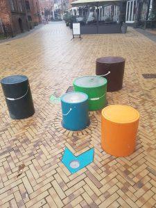 In het centrum van Odense: een interactief speeltoestel gemaakt met PlayAlive technologie.